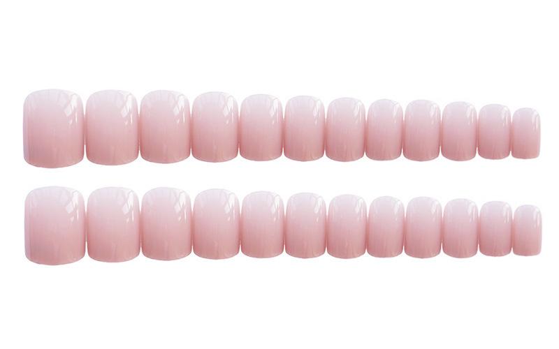 指甲片成品美甲贴可反复拆卸仙女粉嫩可爱灰粉纯色方头软妹可穿戴