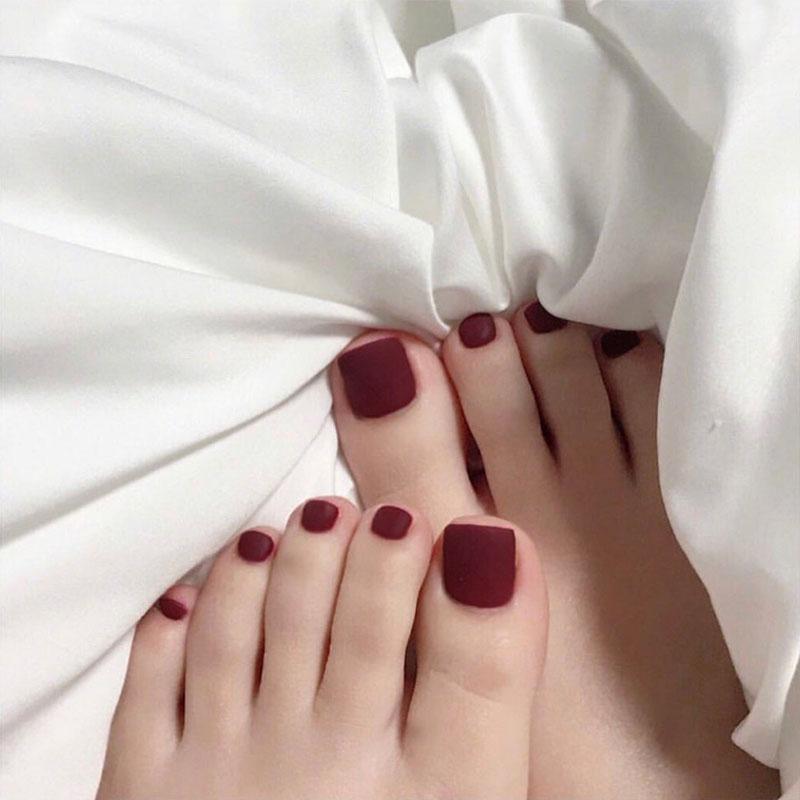 脚趾甲贴片美甲成品网红车厘子纯色磨砂短款可拆卸假指甲脚指甲片