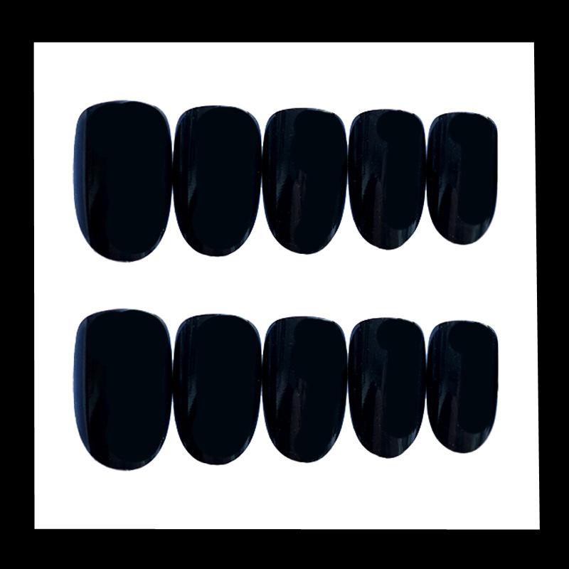黑磨砂中长圆网红同款ins假指甲成品穿戴可拆卸美甲贴片手指甲片