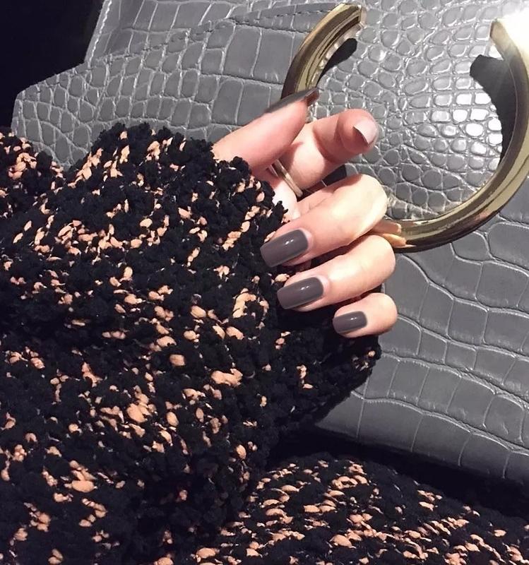 美甲假指甲片成品方头中长款奶茶色裸色网红可穿戴美甲防水持久