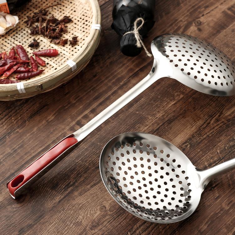 家用漏勺长柄加厚大号不锈钢捞面勺 捞饺子 厨房油炸麻辣厨房用品