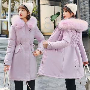 派克服棉衣女2020中长款加厚韩版收腰冬装新款加绒棉服防寒服外套