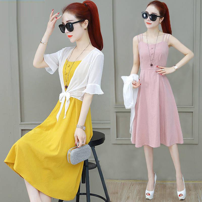 显瘦连衣裙2020新款长款裙子女夏披肩