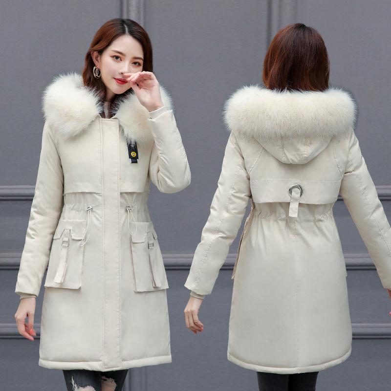 女冬装韩版收腰羽绒棉派克服
