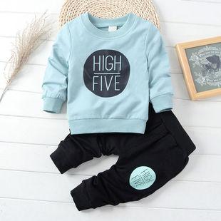 春秋季男女童宝宝上衣+裤子春装长袖套装婴幼儿童外出衣服两件套