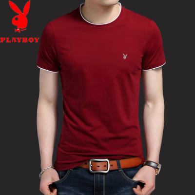 潮流 白色纯棉 圆领纯 修身半载 短袖男装青年 T恤衫 夏季男士短袖t恤