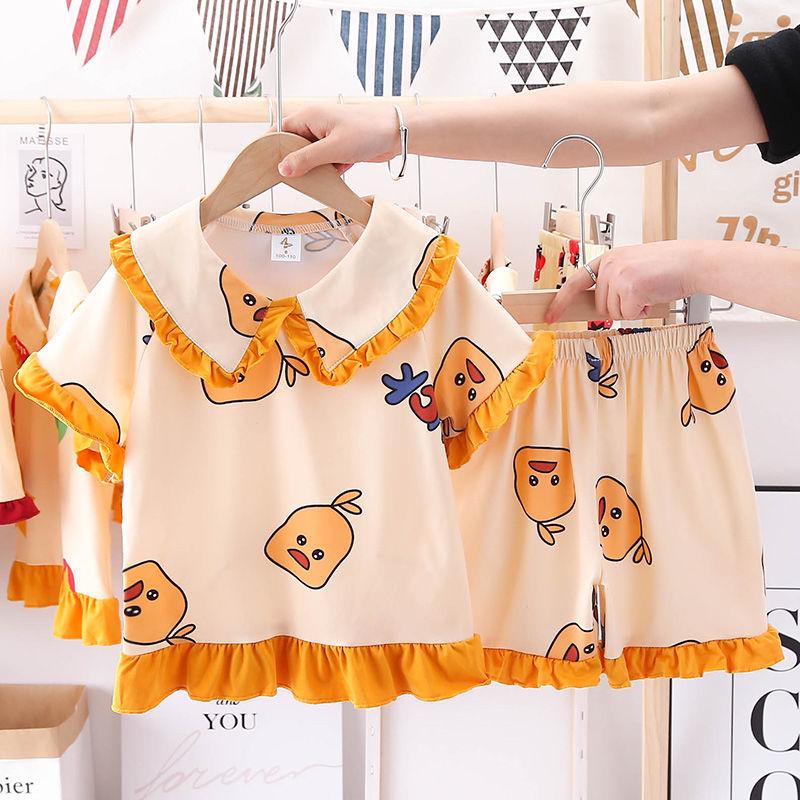 2021儿童睡衣二件套装短袖套装卡通可爱公主女童中大童空调家居服