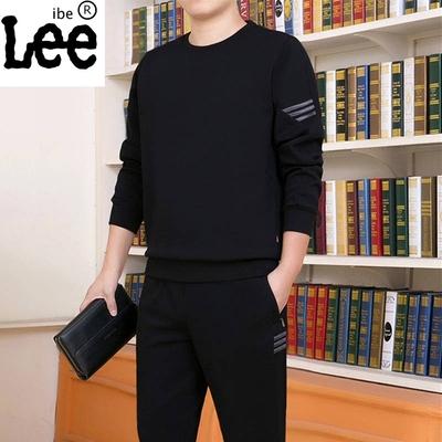 ibelee运动套装男士秋冬季休闲大码爸爸装两件套中老年加绒运动服