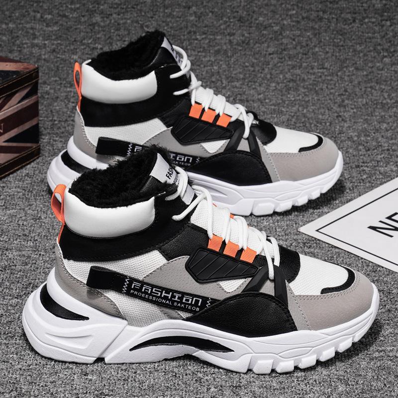 马丁靴2020新款圆头马丁靴低跟大黄马丁靴前系带休闲潮流男靴子