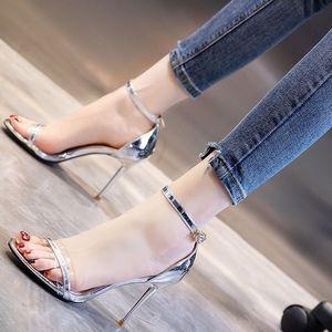 网红凉鞋女2021夏季新款高跟鞋高跟鞋百搭一字扣细跟设计夜场单鞋