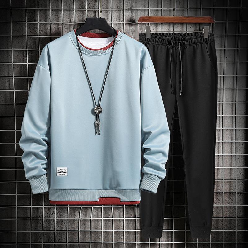 2021春季新款休闲卫衣运动套装男休闲潮流男士时尚运动两件套