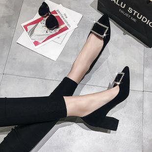 高跟鞋女细跟2020秋季新款韩版百搭尖头浅口中跟黑色猫跟5cm单鞋