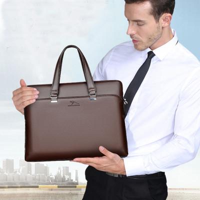 智尊袋鼠男包真皮手提包商务电脑公文包头层牛皮斜挎大容量男士包