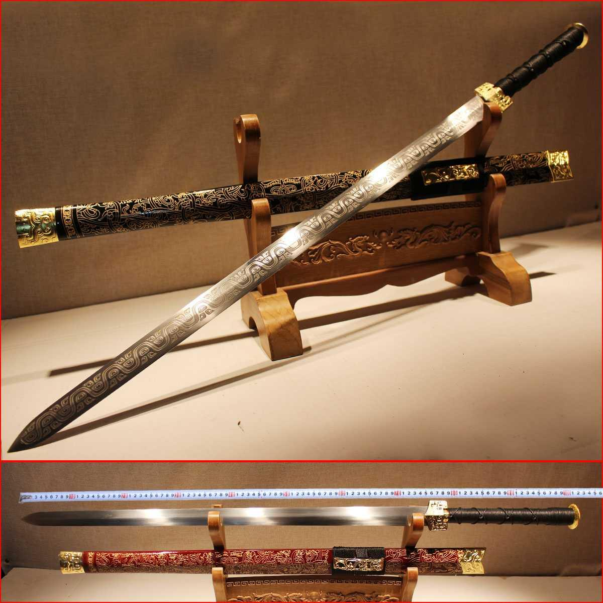 integrated steel sword tang dao longquan long TangJian Town curtilage sword pattern steel han jian long knife sword is not edged usually