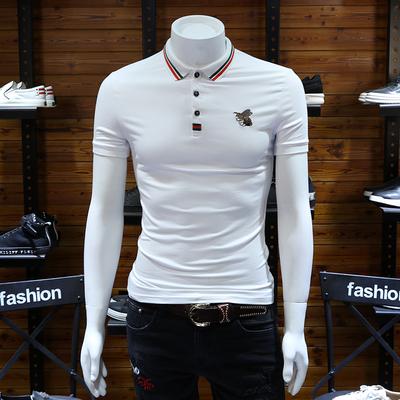 Mùa hè nam ngắn tay áo polo Châu Âu trạm ong thêu t-shirt mercerized cotton ve áo polo áo sơ mi nửa-shirt triều áo polo sói Polo