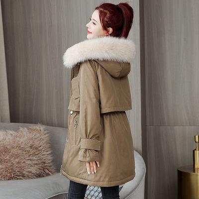 大码女装2020新款冬装加绒加厚派克棉服女宽松显瘦中长款棉衣外套