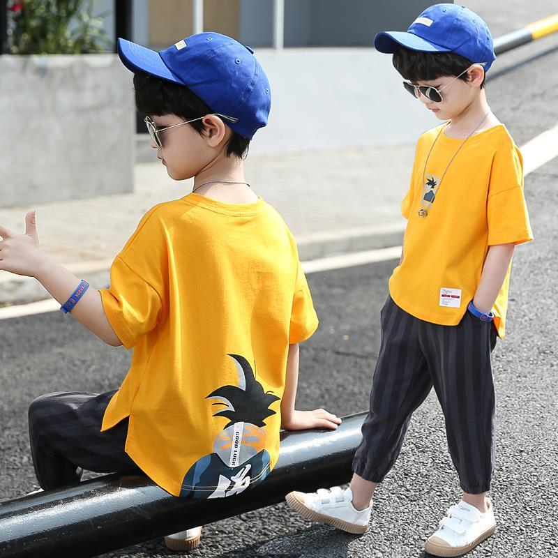 夏季中大童男孩短袖儿童帅气两件套童装