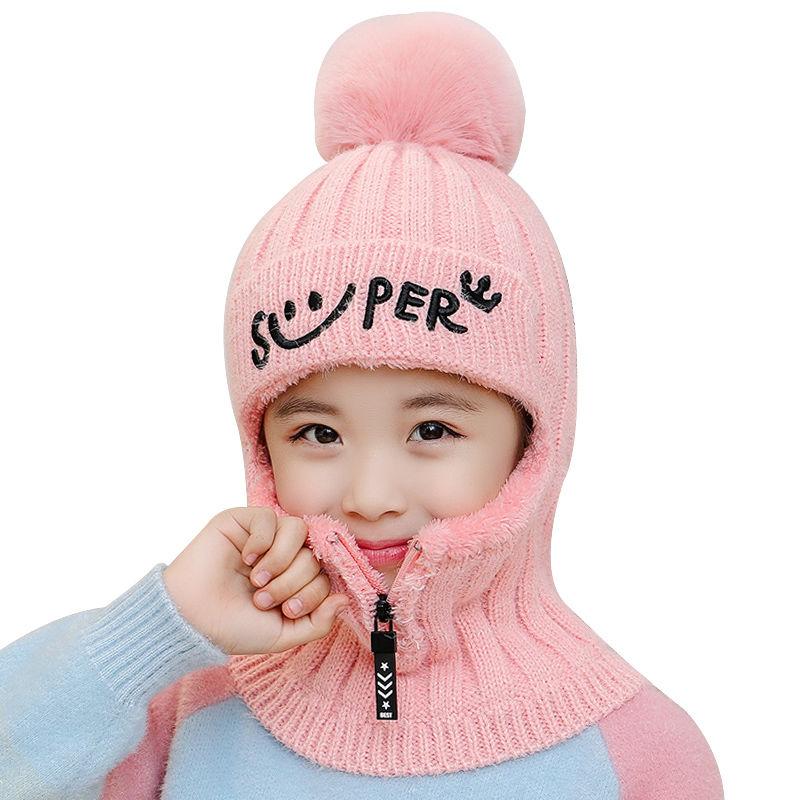 儿童帽子男童女孩针织毛线帽潮秋冬天加绒一体女孩保暖护耳防风ξ 帽