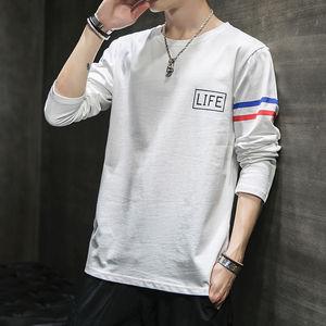 长袖T恤男士韩版潮流2020春季新款纯棉假两件卫衣短袖打底衫春装