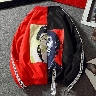 Gd Wu Yifan sao với mùa thu áo nam Châu Âu và Mỹ triều thương hiệu màu đen và đỏ khâu chú hề áo khoác nam giới và phụ nữ áo khoác
