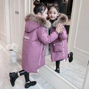 女童冬裝童裝洋氣中大童中長款加厚棉衣外套