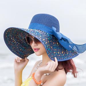 海边大帽檐防晒遮阳夏天沙滩草帽子女韩版潮太阳度假百搭大沿凉帽
