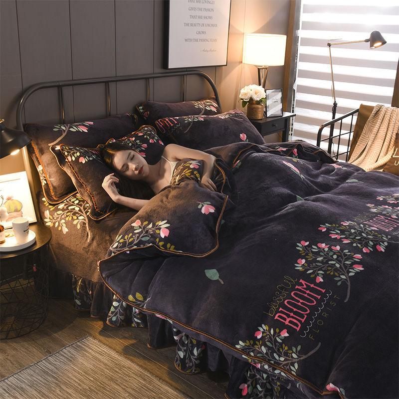 加厚金貂绒四件套床裙款冬季保暖珊瑚绒床笠床上用品法兰绒三件套