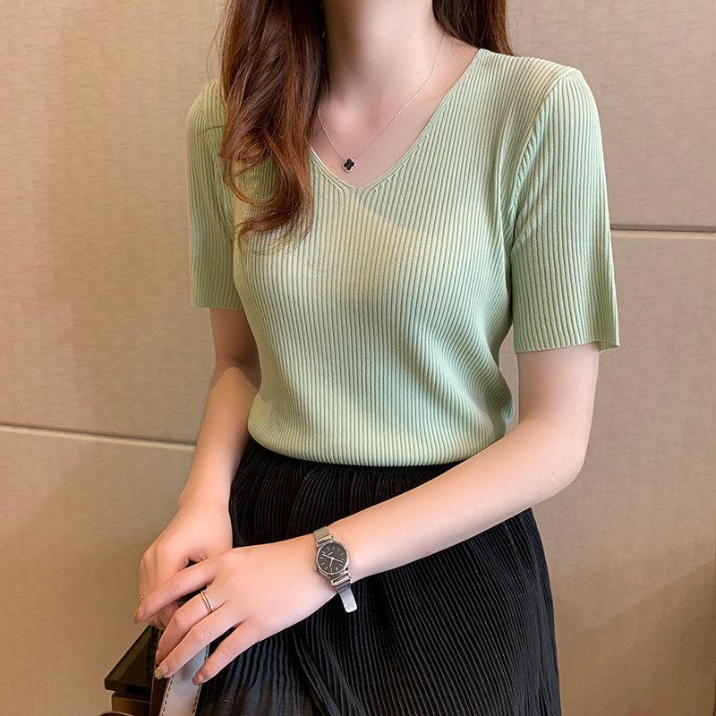 夏季2020新款韩版宽松大码v领冰丝针织打底衫女短袖t恤薄款上衣