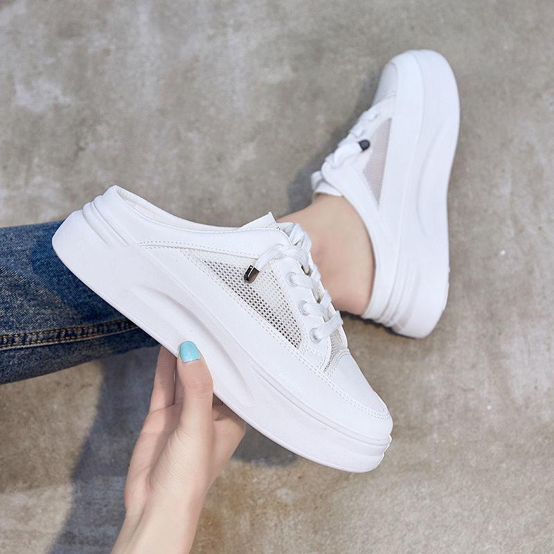 包头半拖鞋女2021夏外穿网红ins学生韩版网面透气防滑凉拖小白鞋