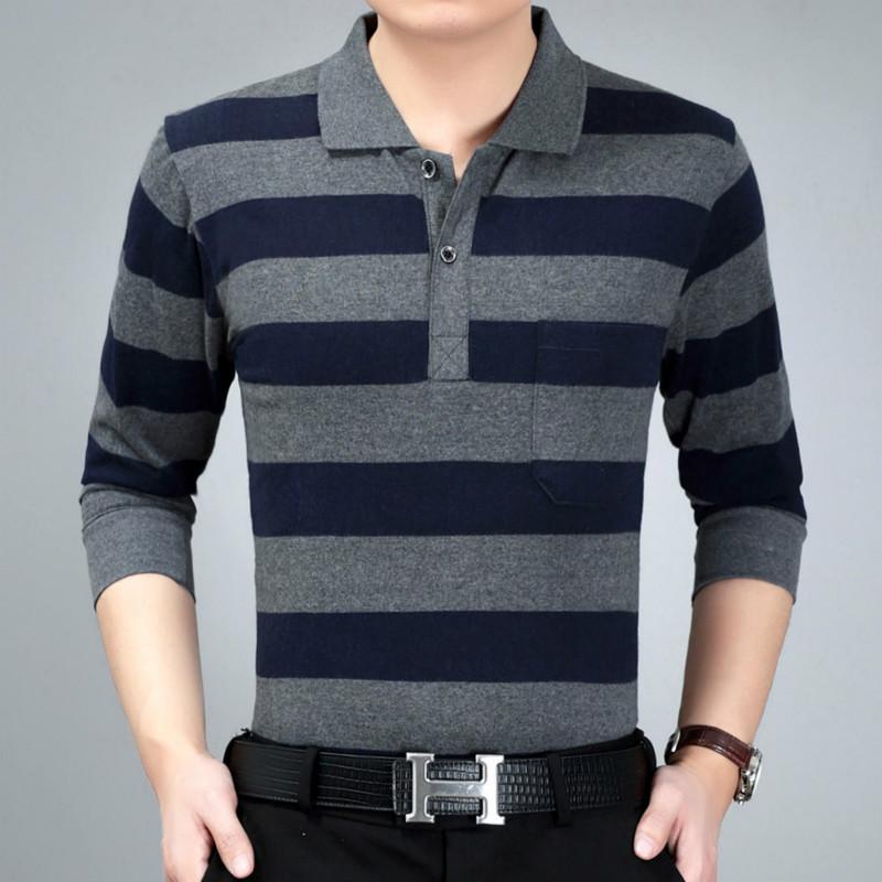 秋季休闲条纹POLO衫男装秋衣男士长袖T恤宽松中年肥加大爸爸装