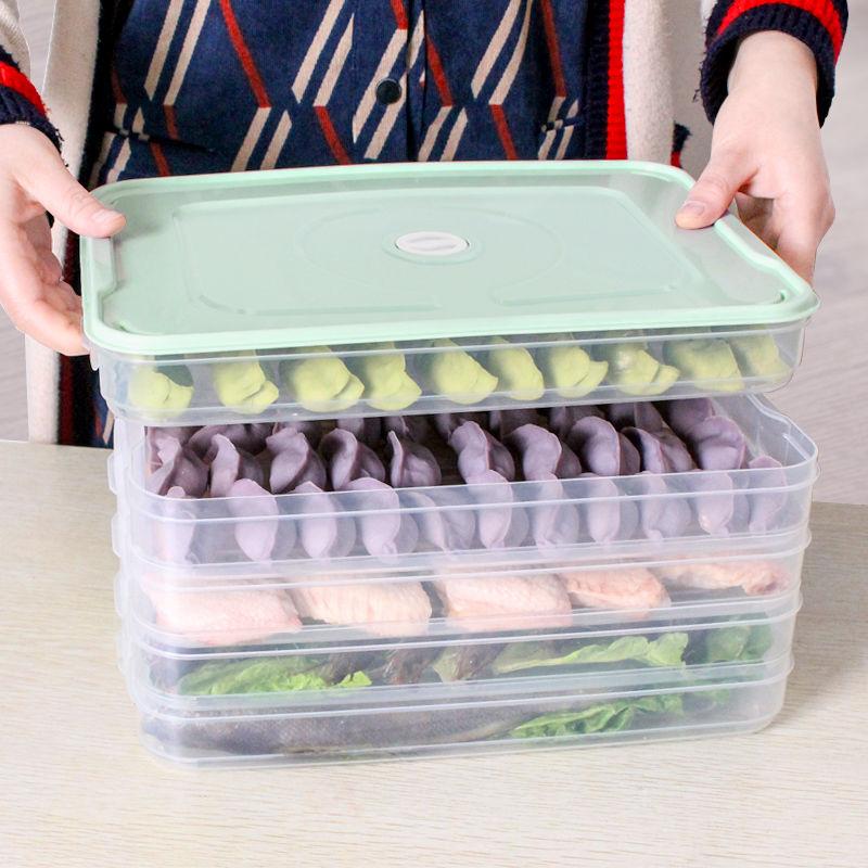 饺子盒冻饺子家用冰箱�K保鲜收纳盒水饺多层速冻馄◆饨盒大号