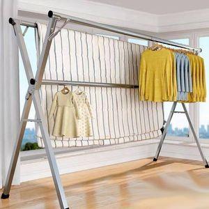 不锈钢晾衣架落地折叠室内外晒衣架双杆阳台挂衣架X型简易晾衣12