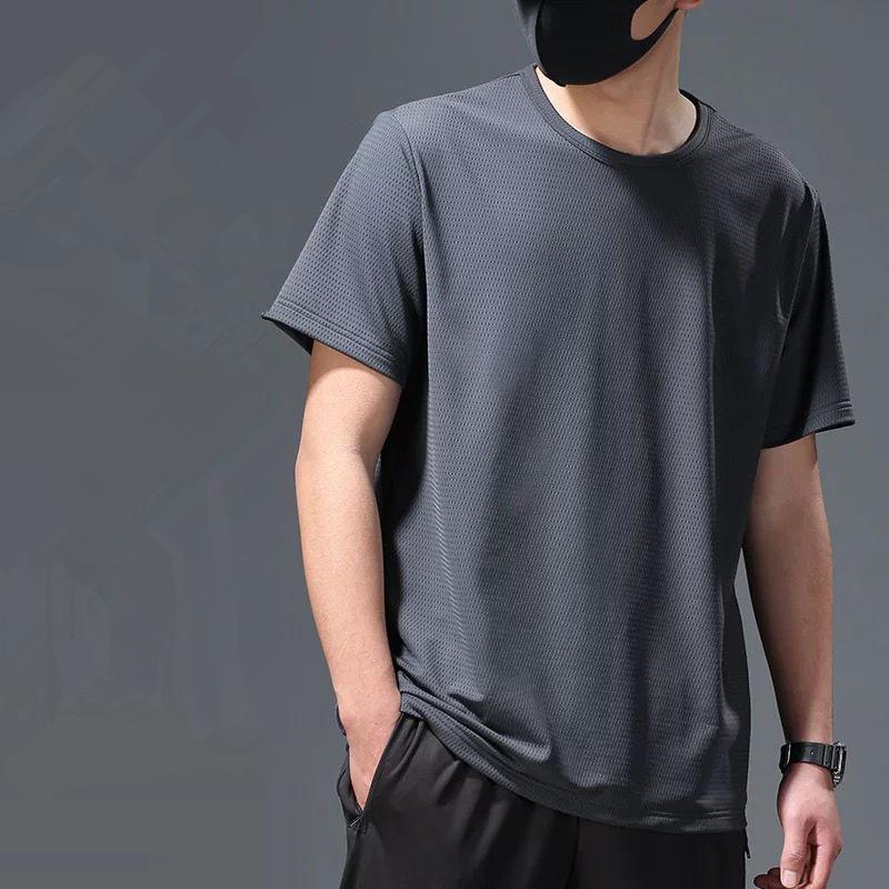 冰丝网眼男士短袖t恤透气速干短袖宽松