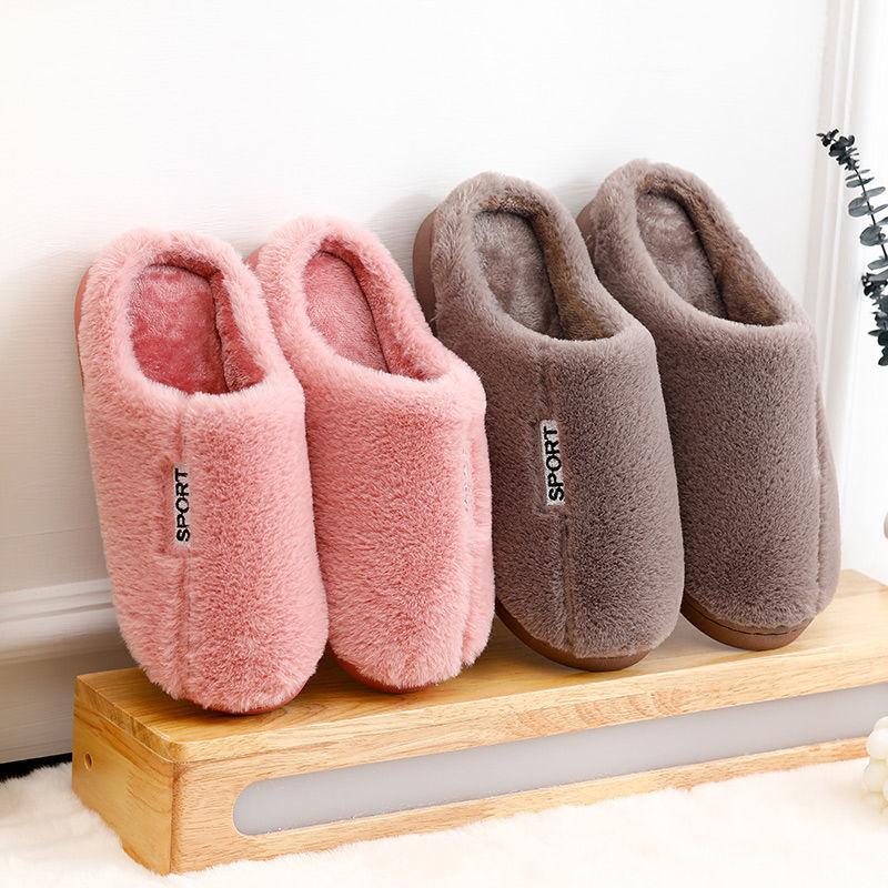 【2双装】棉拖『鞋女冬季情侣防滑家用家居室内月子毛毛拖鞋�K男士