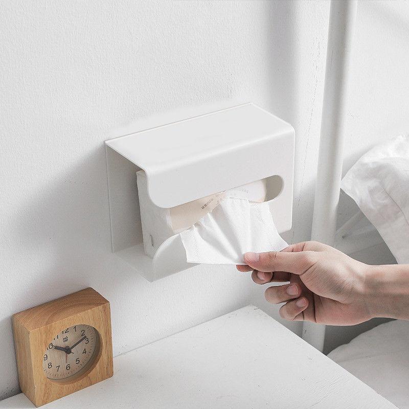 免打孔式纸巾盒收纳盒多功能车内厨房洗手间客厅卧室挂壁式抽纸盒