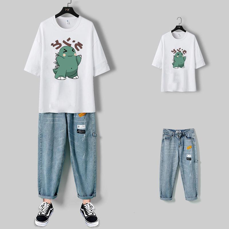 男士夏季休闲一套装帅气牛仔九分裤子搭配宽松五分袖T恤短袖潮流t
