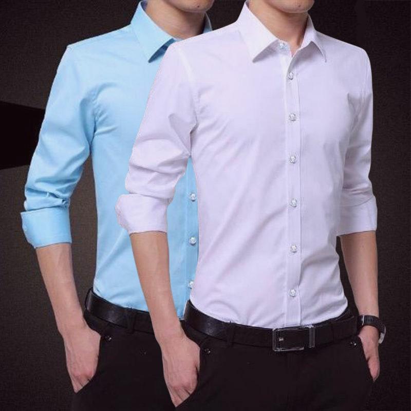 【买一送一】春秋季男士衬衫长袖免烫韩版