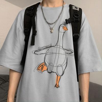 夏季大码短袖T恤男ins潮牌卡通童趣印花宽松学生韩版百搭半袖上衣的图片来自淘券快报,领券宝