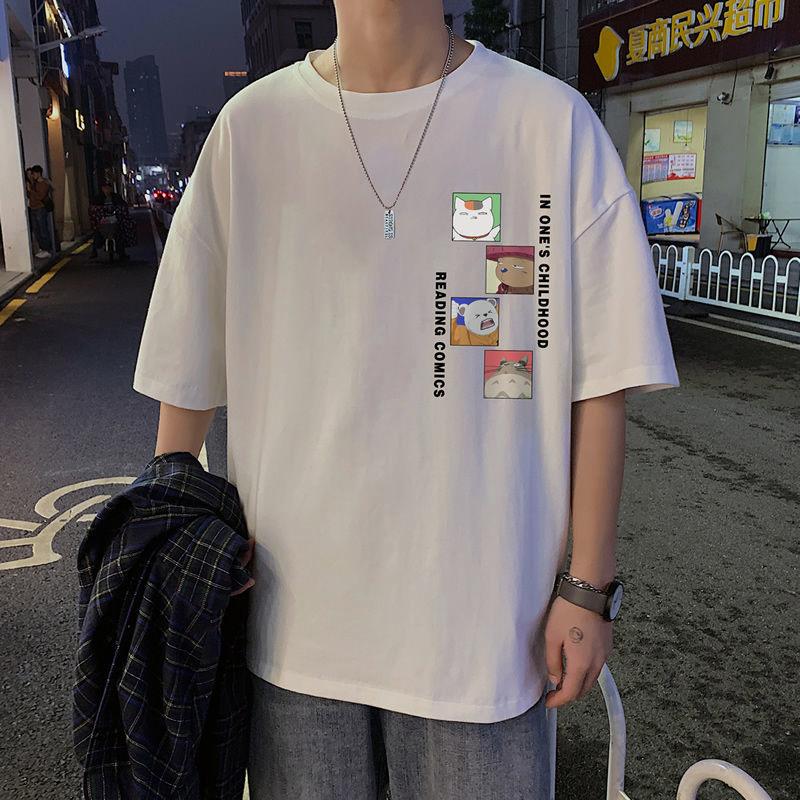 2021新款潮流港风男生宽松休闲学生t恤