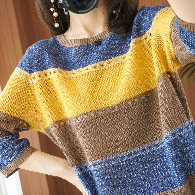 薄款大码针织短袖t恤女2021夏季新款圆领宽松彩色镂空打底衫半袖