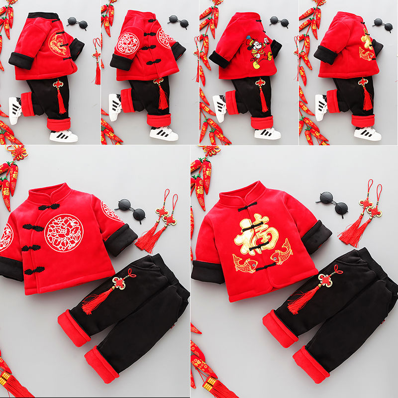 儿童唐装套装秋冬款女童拜年服男童汉服古装加绒加厚周岁宝宝棉衣