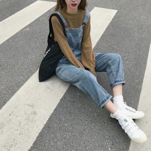春秋新款韩版女装网红学生牛仔九分背带裤