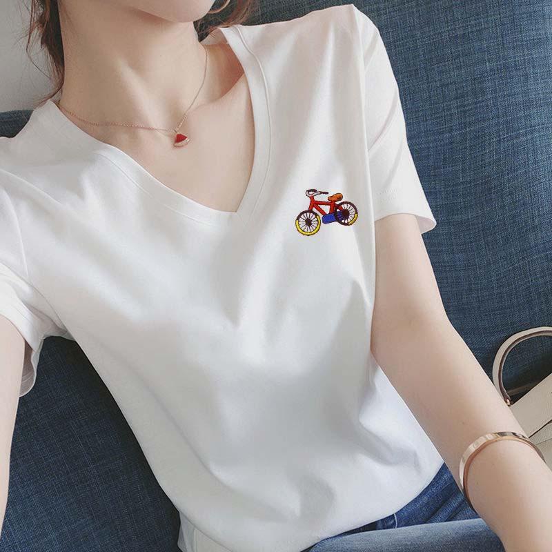 95棉刺绣白色v领短袖t恤女2021新款