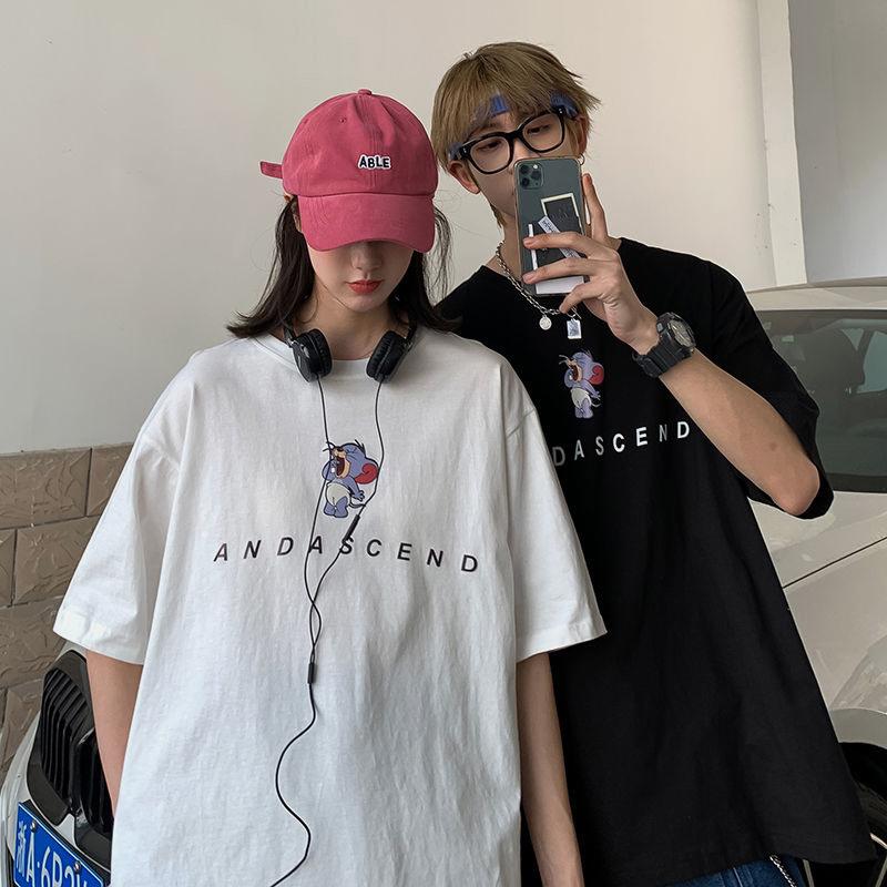 100%棉夏季潮牌卡通宽松短袖T恤男女情侣装半袖学生原宿上衣班服