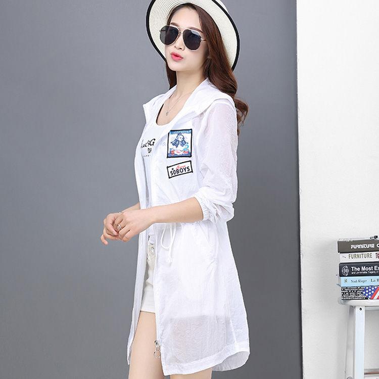 韩版显瘦中长款风衣防紫外线开衫外套防晒服