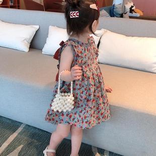 女童连衣裙夏季新款儿童背心公主裙小童碎花