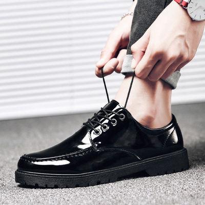 韩国ulzzang男士小皮鞋黑色韩版亮皮圆头学生系带青年休闲男鞋子
