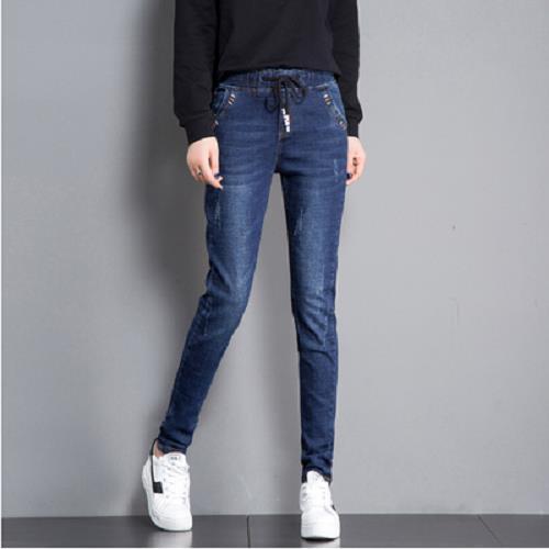 牛仔裤女宽松长裤大码弹力松紧腰显瘦哈伦裤