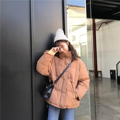 韩国冬装新款学院风棉袄纯色高领面包服小个子棉服短外套棉衣