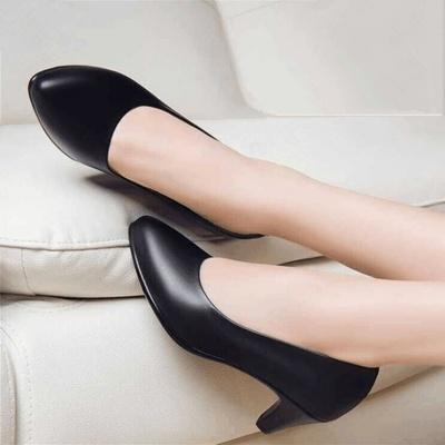 【软皮无痛工作鞋】上班鞋黑色单鞋正装皮鞋女矮跟职业中跟女鞋41
